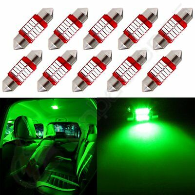 10x 31mm Festoon Green Car LED 10SMD Bulb Interior For Dome Map Trunk Lights 12V