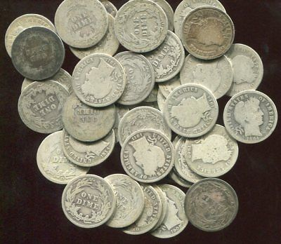 ROLL (50) Barber 90% Silver Dimes avg circ (A) (Combined Shipping $2.95)