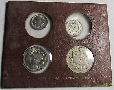 Nepal 4 Coin Mint Set in Original Holder From 1950's