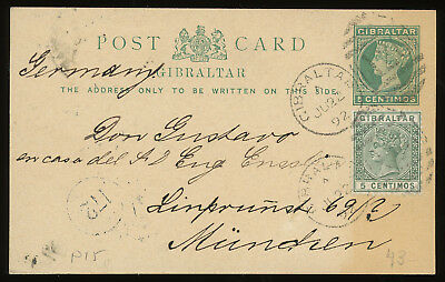 Gibraltar 1892 5c green postcard up-rated with 5c green and sent to Germany