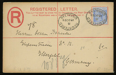 Gibraltar 1893 20c red registered envelope up-rated with 25c blue, to Germany