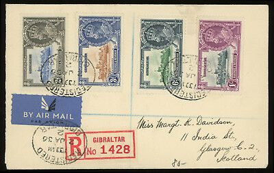 Gibraltar 1936 registered air mail cover to Scotland with Silver Jubilee issue