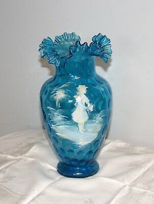 Victorian Bohemian Mary Gregory vase Coin Spot blue vase ruffled crimped rim