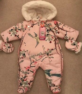 Ted Baker Baby Girls Floral Snowsuit / Pramsuit 0-3 Months May also fit 3-6 NEW