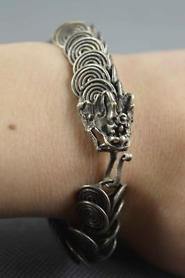 Collection Handwork Decor Old Miao Silver Carve Exorcism Dragon Usable Bracelet