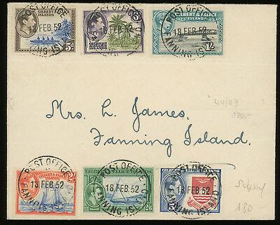Gilbert and Ellice Islands 1952 cover bearing KGVI high values up to 5/-, scarce