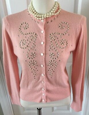 Vintage Turbo Orlon Styled By Priscilla Co. Cardigan Sweater, Pink, Small