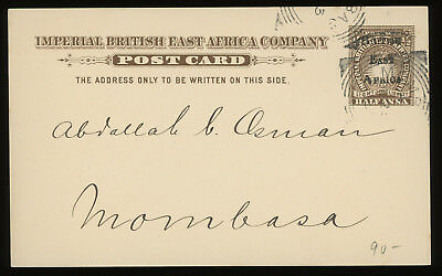 British East Africa two 1895 1/2a brown overprinted postcards used, very scarce