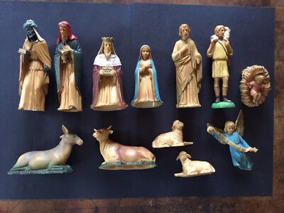 Vintage1960s Hong Kong Art Nativity Scene Hard Plastic Set