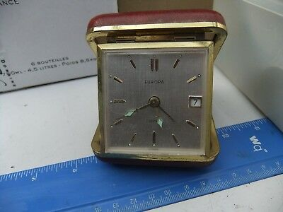 Vintage Europa 2 Jewels Travel Alarm Clock With Date
