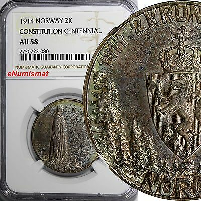 NORWAY SILVER 1914 2 Kroner NGC AU58 Constitution Centennial .NICE TONED KM# 377