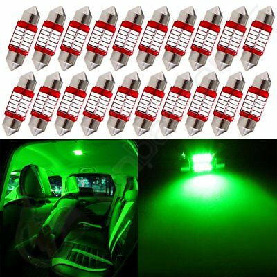 20x 31mm Festoon Car LED 10SMD Bulb Interior For Dome Map Trunk Lights Green 12V