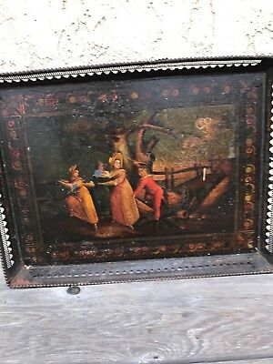 Antique tole tray 18 th - 19 th century hand painted