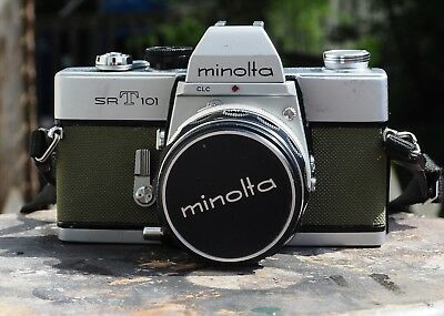 Restored & Film Tested Minolta SRT 101 w/ MC Rokkor PF 55mm f1.7, Olive Drab