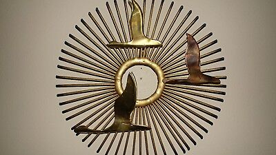 Vintage Mid Century Modern Retro Brass And Copper Starburst Wall Art With Birds