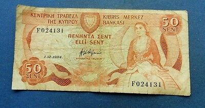Cyprus 50 Cents, Sent. 1984. Circulated