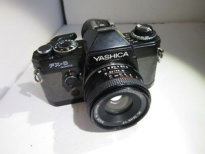 Working Yashica FX-D quartz 35mm SLR Film With 50mm Lens- Worn leatherettes