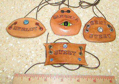 Leather Wine Labels--4 Different