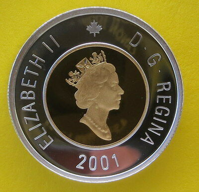 2001 Canada Proof Silver 2 Dollar - Toonie w/24kt Gold core