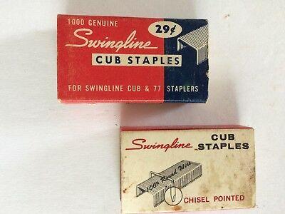 """TWO (2) Vintage BOXES of 1000 """"SWINGLINE CUB STAPLES"""""""