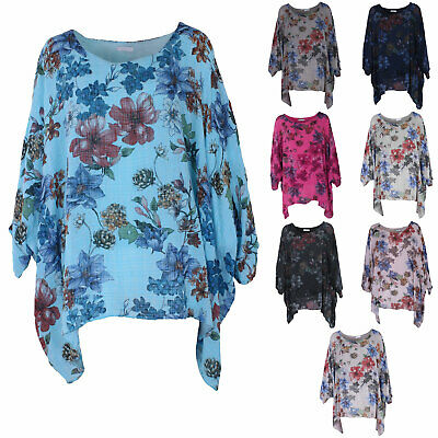 9241eb01f32 Ladies Italian Floral Lagenlook Batwing Women Cotton Linen Tunic Top Plus  sizes