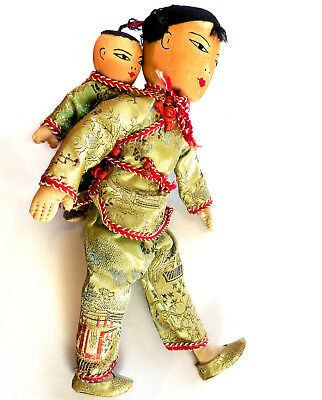 "11"" Vintage Chinese Mother and Child Cloth Dolls, Possibly by Ada Lum, Hong Kong"