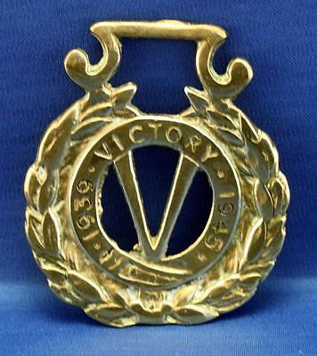 A Very Nice Vintage Commemorative Horse Brass - WW2 Victory 1939 - 1945