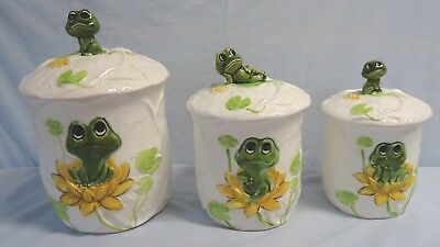 Neil The Frog Canister Set Of 3 Sears 1978 Porcelain Excellent Condition Set