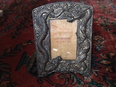 Antique Chinese Victorian Cast Bronze Dragon Snake Heavy repousse frame