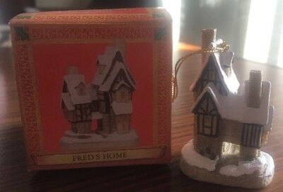 David Winter Cottages Christmas Ornament FRED'S HOME 1992 MIB
