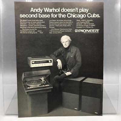 Vintage Magazine Ad Print Design Advertising Andy Warhol Pioneer Stereo Cubs