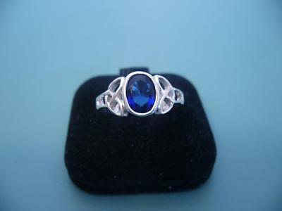 Stunning Sterling Silver & Created Sapphire Celtic Ring - 2 Grams