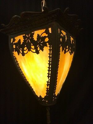 Rare Large Antique Victorian Stained Slag Glass Hall Ceiling Light Fixture Lamp