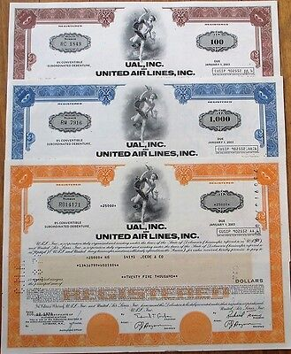 UAL / United Air Lines Airlines Stock/Bond Certificates - Three (3) DIFFERENT