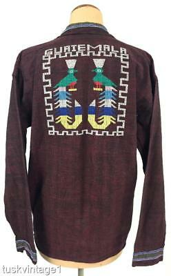 VINTAGE Mens South American BURGUNDY black EMBROIDERED peacock COTTON SHIRT M