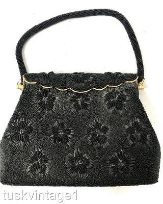 VINTAGE Mid century BLACK finely beaded glass beads gold satin EVENING BAG