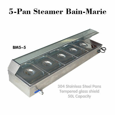 50L Buffet Countertop USED Food Warmer Steam Table 110V 5-Pan Steamer Bain-Marie