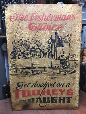 "Vintage Beer Advertising Tin Sign Tooheys Draught ""The Fisherman's Choice"""