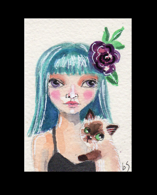 ACEO CAT Ragdoll Siamese Girl Whimsical collectible Original Watercolor art