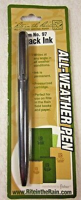 Rite in the Rain All-Weather Black Metal Clicker Pen - Black Ink (No. 97)