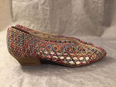 Saks Fifth Ave Slip on Shoes Woven Confetti 6B Red Multi WS3