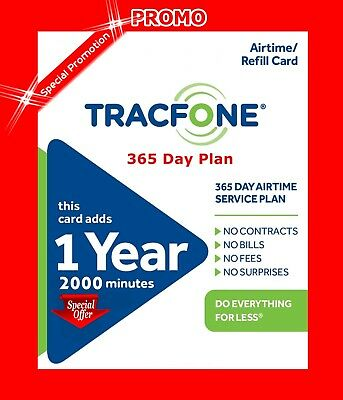 TracFone  1 Year 365 Days Service + 2000 Minutes Pre-Summer Promo $99
