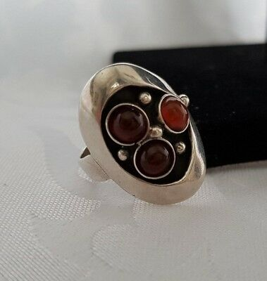 Taxco Ring Sterling with Amber Sz7, Eagle Signed