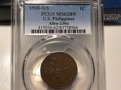 Philippines 1908 S over S Variety One Centavo PCGS MS 62 Brn aka Horned S
