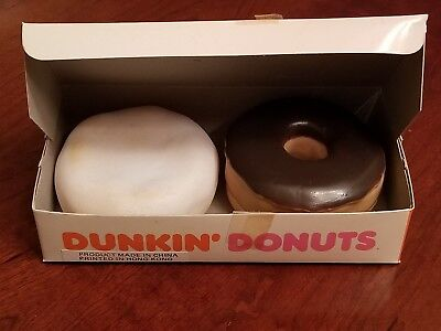 VINTAGE 1987 DUNKIN DONUTS PLAY FOOD TOY ~ BOX OF 2 Donuts