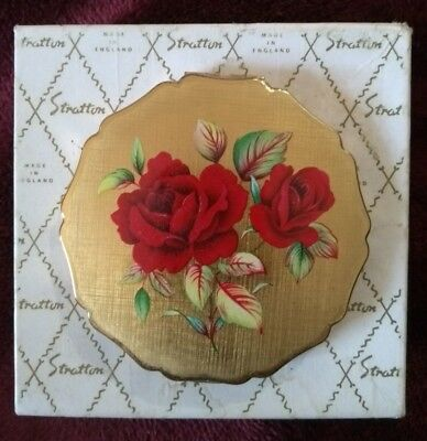 Stratton Compact enamel roses gold tone, unused in original box, made in England