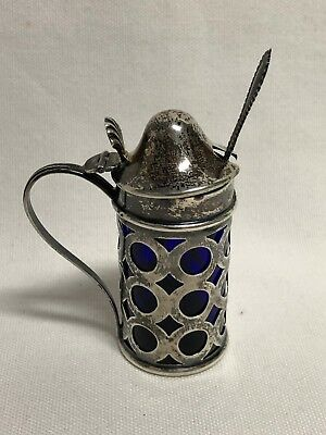 Webster Sterling Silver Cobalt Glass Liner Handled Mustard Pot