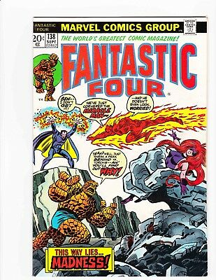 FANTASTIC FOUR #138 Sep 1973 MIRACLE-MAN MADNESS - Condition 6.0 FN