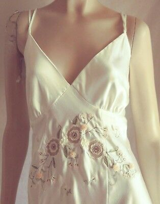 Beautiful Linea Donatella White Satiny Bridal Nightgown Floral Embroidered - XL