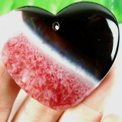 D7.8752 Heart Red Onyx Druzy Geode Agate Pendant Bead 45*7mm
